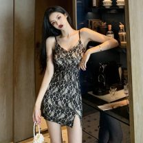 Dress Summer 2021 black S,M,L Short skirt singleton  Sleeveless commute V-neck High waist Solid color Socket One pace skirt other camisole 18-24 years old Type X Korean version 30% and below