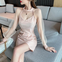 Dress Spring 2021 light pink S,M,L Short skirt singleton  Long sleeves commute V-neck High waist Solid color Socket One pace skirt bishop sleeve Hanging neck style 18-24 years old Type A Korean version Hollowed out, stitched, gauze net 30% and below