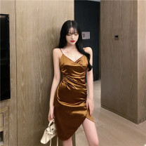 Dress Summer 2021 Champagne S,M,L Short skirt singleton  Sleeveless commute V-neck middle-waisted Solid color Socket Irregular skirt routine camisole 18-24 years old Type X Other / other Korean version Open back, fold 30% and below