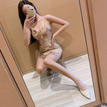 Dress Summer of 2019 Picture color S,M,L,XL Short skirt singleton  Sleeveless commute Crew neck High waist Solid color Socket One pace skirt other camisole 18-24 years old Type H tpny Korean version Sequins 30% and below