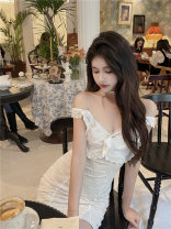 Dress Summer 2021 white lace  S, M Short skirt singleton  Sleeveless Sweet V-neck High waist Solid color Socket One pace skirt Flying sleeve camisole 18-24 years old Type X Hollow out, open back, Auricularia auricula, stitching 31% (inclusive) - 50% (inclusive) Mori