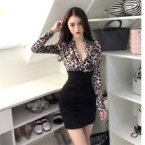 Dress Spring 2021 Yellow leopard pattern, white leopard pattern Average size Short skirt singleton  Long sleeves street V-neck middle-waisted Leopard Print Socket Pencil skirt routine Others 18-24 years old Type X 30% and below