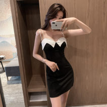 Dress Summer 2021 black S,M,L,XL Short skirt singleton  Sleeveless commute One word collar High waist Solid color zipper One pace skirt other camisole 18-24 years old Type X Korean version Lotus leaf edge 30% and below