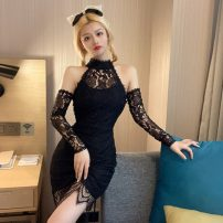 Dress Summer 2021 black Average size Short skirt singleton  Long sleeves commute Crew neck High waist Solid color zipper One pace skirt routine Hanging neck style 18-24 years old Retro Hollow, open back, wave, lace 51% (inclusive) - 70% (inclusive) other other