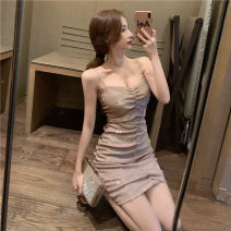 Dress Spring 2021 Apricot S,M,L Short skirt singleton  Sleeveless commute V-neck High waist Solid color A-line skirt routine Others 25-29 years old Type H Other / other 30% and below