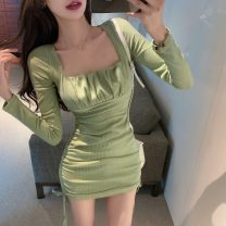 Dress Winter 2020 Black, fruit green Average size Short skirt singleton  Long sleeves square neck High waist Solid color A-line skirt routine Others 18-24 years old Type A Other / other 30% and below