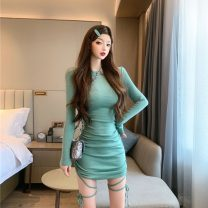Dress Winter 2020 Purple, green S,M,L Short skirt singleton  Long sleeves commute Crew neck High waist Solid color Socket One pace skirt routine Others 18-24 years old Type H Other / other Splicing 30% and below polyester fiber
