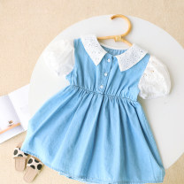 Dress blue female Other / other 5 for height 100, 7 for height 110, 9 for height 120, 11 for height 130, 13 for height 140 Other 100% summer leisure time Short sleeve Solid color other Splicing style 43QZ2933 other Seven, eight, three, six, two, five, four Chinese Mainland