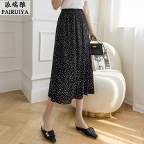 skirt Summer 2021 S M L XL White yellow black Mid length dress Natural waist A-line skirt Dot 18-24 years old PRY 670 More than 95% Perrier (clothing) other Other 100%