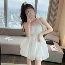 Dress Summer 2020 white Average size Short skirt other Sleeveless commute One word collar High waist Solid color Socket Big swing camisole 18-24 years old Type A Ezrin Korean version xim4C 31% (inclusive) - 50% (inclusive)