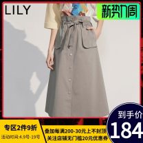 skirt Summer 2020 Mid length dress commute High waist A-line skirt Solid color Type A 25-29 years old 51% (inclusive) - 70% (inclusive) other Lily / Lily cotton pocket Ol style