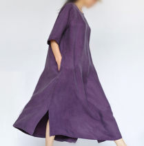 Dress Summer 2020 M, L longuette singleton  elbow sleeve commute Crew neck Loose waist Solid color Socket Big swing routine Oblique shoulder 30-34 years old Type A Fashion boutique Village Retro 51% (inclusive) - 70% (inclusive) Silk and satin silk