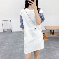 Dress Summer 2020 Jane white, Jane Black, B Jane white M, L Middle-skirt Fake two pieces three quarter sleeve commute Crew neck Socket bishop sleeve Type H Shuimuchen Xiaojing home L4332-YB0602 More than 95% knitting cotton