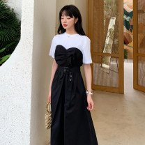 Dress Summer 2021 Black and white stitching S,M,L longuette Fake two pieces Short sleeve commute Crew neck High waist Solid color Socket Big swing routine Others 18-24 years old Type A Other / other Korean version Splicing, bandage 31% (inclusive) - 50% (inclusive) other cotton