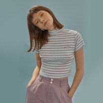 T-shirt Light flower purple, light flower purple pre-sale S,M,L Summer 2020 Short sleeve Crew neck Self cultivation Regular routine Sweet cotton 86% (inclusive) -95% (inclusive) 18-24 years old youth Animal pattern, horizontal stripe, color matching LLANO stripe college