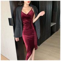 Dress Summer 2021 Blue, red, black S, M Mid length dress singleton  Sleeveless commute V-neck High waist Solid color Socket Irregular skirt routine camisole Type X Korean version More than 95% other other