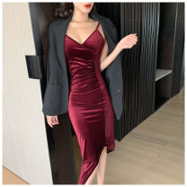 Dress Summer 2021 Blue, red, black S, M Mid length dress singleton  Sleeveless commute V-neck High waist Solid color Socket Irregular skirt routine camisole Type X Korean version More than 95% other other