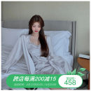 Pajamas / housewear set female Other / other Average size Two piece set other Long sleeves sexy pajamas summer routine V-neck Solid color Socket youth 2 pieces More than 95% Middle-skirt