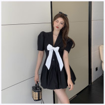 Dress Summer 2021 White, black S, M Short skirt singleton  Short sleeve commute Polo collar middle-waisted Single breasted A-line skirt other Others Korean version More than 95% other other