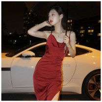 Dress Summer 2021 Red dress S,M,L longuette singleton  Sleeveless commute V-neck High waist Solid color zipper camisole Korean version zipper More than 95% other other