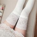 Socks / base socks / silk socks / leg socks female Other / other Average size White, black, light grey 1 pair routine High tube autumn Sweet stripe cotton Leg shaping lace Common crotch