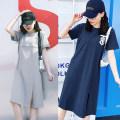 Home skirt Yunjia Pink, grey, bluish grey M [95-110] Jin, l [115-130] Jin, XL [135-150] Jin, XXL [155-170] Jin Short sleeve summer Crew neck Thin money leisure time Socket letter cotton