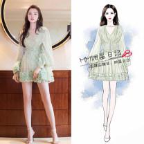 Dress Spring 2020 Green flowers S,M,L,XL Middle-skirt Long sleeves V-neck Star diary