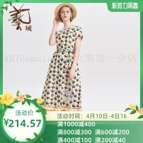 Dress Summer of 2019 Pearl White w05, blue B53 S,M,L,XL,2XL 25-29 years old Women's wear in art field J2L23 More than 95% cotton