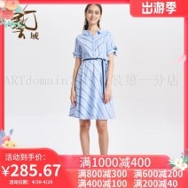 Dress Summer of 2019 Sky blue B52 S,M,L,XL,2XL 25-29 years old Women's wear in art field J2L13 More than 95% cotton