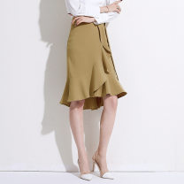 skirt Spring 2020 S,M,L,XL Black, Khaki Middle-skirt commute other Solid color 25-29 years old 91% (inclusive) - 95% (inclusive) Chiffon other Ruffles, stitching