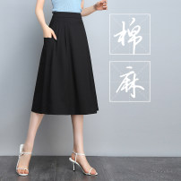 skirt Summer of 2019 M,L,XL,2XL,3XL,4XL black Mid length dress Versatile High waist A-line skirt Solid color Type A 18-24 years old More than 95% other New Cadia cotton pocket