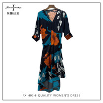 Dress Spring 2021 Homogeneous color S,M,L,XL longuette singleton  Long sleeves commute V-neck middle-waisted Decor Socket A-line skirt routine 30-34 years old Type A printing 1461/312/L41 polyester fiber