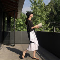Dress Summer 2021 black M,L,XL,2XL Mid length dress singleton  Short sleeve commute Crew neck Loose waist Solid color Socket Cake skirt routine Others Type A Other / other Korean version Ruffles, pleats, folds, stitching 81% (inclusive) - 90% (inclusive) brocade cotton