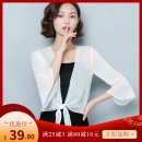 Lace / Chiffon Summer 2020 White, black M,L,XL,2XL,3XL three quarter sleeve commute Cardigan singleton  Self cultivation have cash less than that is registered in the accounts One word collar Solid color pagoda sleeve 18-24 years old Lotus leaf edge Korean version 71% (inclusive) - 80% (inclusive)