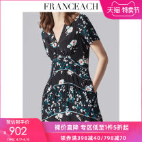 Dress Summer 2021 Flowers on black background S M L XL XXL longuette singleton  Short sleeve street V-neck High waist Decor Socket Big swing routine Others 30-34 years old Type A More than 95% Crepe de Chine silk Mulberry silk 100% Pure e-commerce (online only) Europe and America