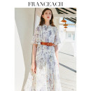 Dress Summer 2021 Yulanxiangrui (15 days in advance) S M L XL XXL Mid length dress singleton  Short sleeve commute stand collar High waist Decor Single breasted Big swing Lotus leaf sleeve Others 30-34 years old Type A Franceach / FA Han · Yi Chi lady Press pleat with strap button printing S21033017
