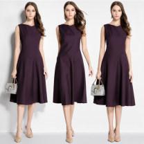 Dress Spring 2021 Purple, black S,M,L,XL,2XL Mid length dress singleton  Sleeveless commute Crew neck High waist Solid color zipper Big swing routine Others Type A Yimeng women's dress Simplicity other