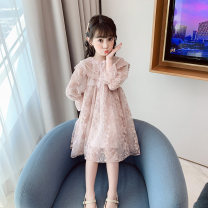 Dress female Other / other 110cm,120cm,130cm,140cm,150cm,160cm Other 100% spring and autumn Korean version Long sleeves Solid color A-line skirt Class A Chinese Mainland