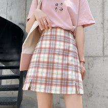 skirt Spring 2021 S,M,L,XL Green, khaki, pink Short skirt Versatile High waist A-line skirt lattice Type A 18-24 years old 81% (inclusive) - 90% (inclusive) other cotton Splicing
