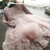 Dress female Other / other 90cm,100cm,110cm,120cm,130cm,140cm Cotton 100% spring and autumn Korean version Long sleeves Solid color cotton Splicing style other 2 years old, 3 years old, 4 years old, 5 years old, 6 years old, 7 years old