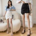 skirt Summer 2020 S,M,L,XL White, black Short skirt Versatile High waist skirt Solid color Type A 25-29 years old 51% (inclusive) - 70% (inclusive) other Other / other polyester fiber Fold, asymmetry, button, zipper 401g / m ^ 2 (inclusive) - 500g / m ^ 2 (inclusive)