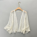 Lace / Chiffon Summer 2021 Off white Average size Long sleeves Versatile Cardigan singleton  easy Regular Half open collar Solid color pagoda sleeve Other / other 2021-002 96% and above cotton