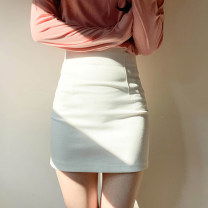 skirt Summer 2020 XS,S,M,L,XL White, black, apricot Short skirt commute High waist skirt Solid color Type O 18-24 years old XYJ203253 Other / other cotton zipper Korean version