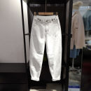 Jeans Spring 2021 Milky white XS,S,M,L,XL,2XL trousers Natural waist loose  routine Water wash, others Cotton denim light colour 96% and above