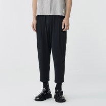 Casual pants Croquis / sketch Youth fashion 001 Ben black 021 carbon ash S M L XL XS XXL routine Ninth pants Other leisure Straight cylinder Micro bomb 9L3321080 summer youth 2021 middle-waisted Polyamide fiber (nylon) 86% polyurethane elastic fiber (spandex) 14% Tapered pants other nylon Summer 2021