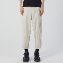 Casual pants Croquis / sketch Youth fashion S M L XL XS XXL routine Ninth pants Other leisure easy Micro bomb summer youth tide 2021 middle-waisted Straight cylinder Cotton 100% stripe cotton Summer 2021 Same model in shopping mall (sold online and offline) More than 95%