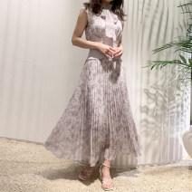 Dress Spring 2021 Off white, purple, black S, M Mid length dress Sweet Elastic waist Broken flowers Other / other solar system