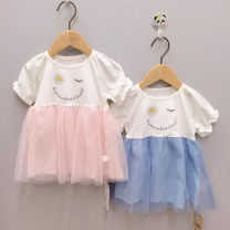 Dress Blue, pink female Other / other 80cm,90cm,100cm Other 100% other Splicing style 3 months, 12 months, 6 months, 9 months, 18 months, 2 years old
