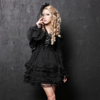 Dress Autumn of 2019 Black, white S,M,L Mid length dress singleton  Long sleeves Sweet Polo collar Elastic waist Solid color Socket Cake skirt other Others Type A G.L.P  Gothic  Lolita&Punk 71% (inclusive) - 80% (inclusive) Lace polyester fiber Lolita