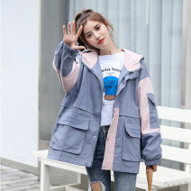 Women's large Spring 2021 White, gray blue L [recommended 100-120 kg], XL [recommended 120-140 kg], 2XL [recommended 140-160 kg], 3XL [recommended 160-180 kg], 4XL [recommended 180-200 kg], m [recommended 80-100 kg] Jacket / jacket singleton  commute easy thin Cardigan Long sleeves letter routine